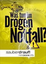 Was tun im Drogennotfall WebVersion-Titel) Warnung Blitz und Hubschrauber mit Mindzonelogo