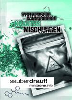Synthetische Cannabinoide / Kräutermischungen WebVersion-Titel Tütchen silber Formeln und Pulver mit Mindzonelogo