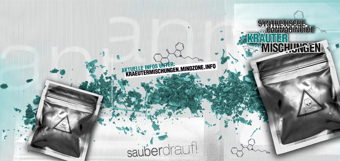 Titelgrafik der Broschüre Synthetische Cannabinoide / Kräutermischungen