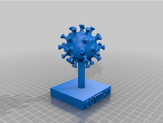 Creative Commons: Coronavirus with Base by nadava156 on Thingiverse: https://www.thingiverse.com/thing:4251022