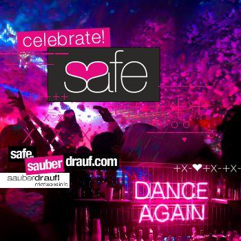 sauber feiern - Safer Use Banners -celecbrate safe - safer use - INFO-BANNER mit allen Hinweisen wie Du Dich beim Feiern auf der Party nach Corona Covid-Lock Down schützen kannst wenn Du Drogen nimmst und Alkohol trinkst